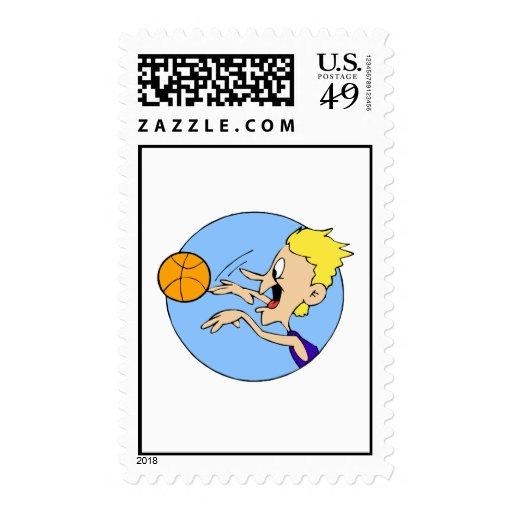 Boy shooting ball postage
