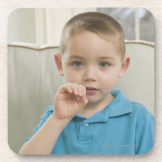 Boy signing the letter 'O' in American sign Drink Coasters