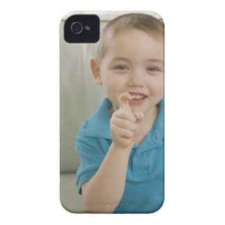 Boy signing the letter 'X' in American sign iPhone 4 Case