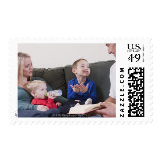 Boy signing the word 'Book' in American Sign Postage Stamp