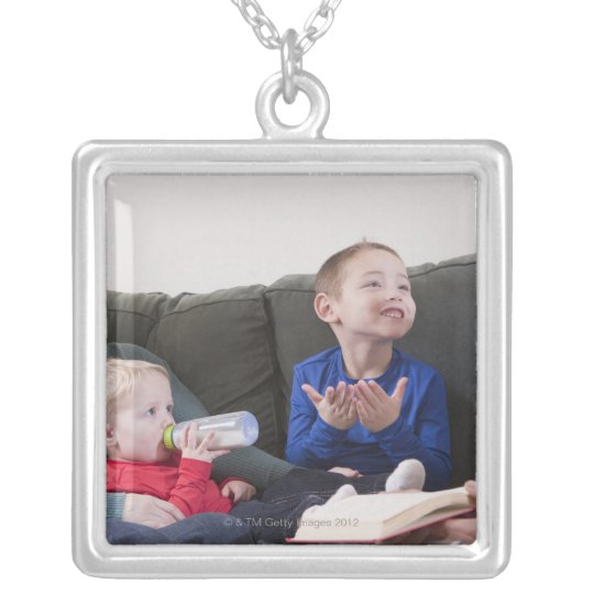 Boy signing the word 'Book' in American Sign Silver Plated Necklace