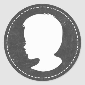 Boy Silhouette Chalkboard Baby Shower Favors Classic Round Sticker