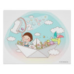 Boy sitting in paper boat poster