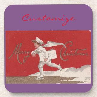 Boy Skating Vintage Thunder_Cove Christmas Drink Coaster