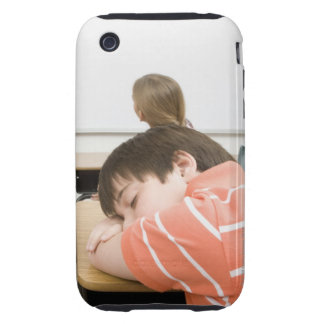 Boy sleeping on desk in classroom tough iPhone 3 cases
