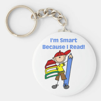Boy Smart Because I Read Basic Round Button Keychain
