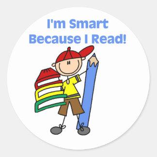 Boy Smart Because I Read Classic Round Sticker