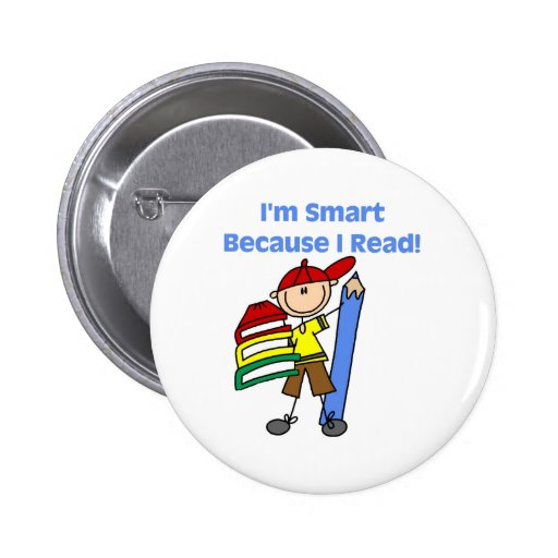 Boy Smart Because I Read Pinback Button