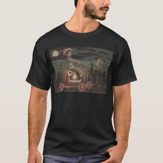 Boy Smiling Jack O Lantern Wagon Black Cat T-Shirt