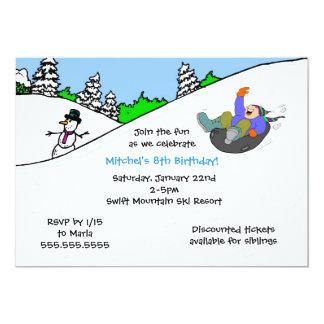 BOY Snow tubing winter birthday party invite