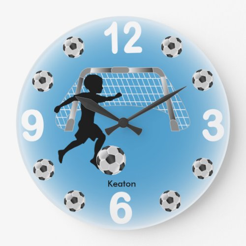 Boy Soccer Ball Player Large Clock