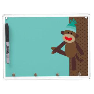 Boy Sock Monkey Dry Erase Board