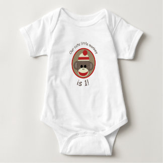Boy Sock Monkey first birthday shirt red and brown