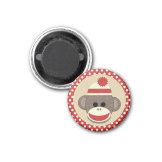 Boy Sock monkey round magnet