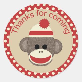 Boy Sock Monkey round sticker