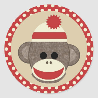 Boy Sock monkey round sticker