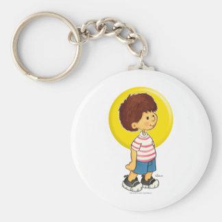 Boy Standing Basic Round Button Keychain