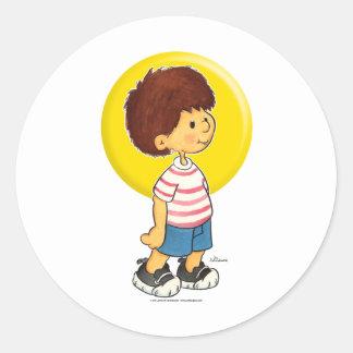 Boy Standing Classic Round Sticker