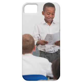 Boy standing in front of class reading in 2 iPhone SE/5/5s case
