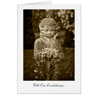 Boy Statue with Spring Posy - With Our Condolences Card