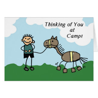 Boy Stick Figure Horse Camp Thinking of You Card