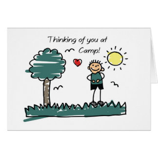 Boy Stick Figure Summer Camp Thinking of You Card