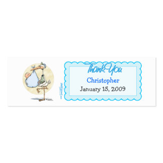 Boy Stork Thanks Favor Tag Double-Sided Mini Business Cards (Pack Of 20)