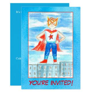 Boy Super Hero Birthday Party Invitation
