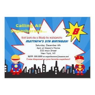 Boy Superhero Birthday Party Invitations
