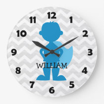 Boy Superhero Blue Personalized Gray Chevron Kids Large Clock