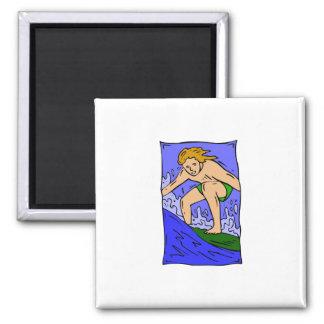 Boy Surfer 2 Inch Square Magnet