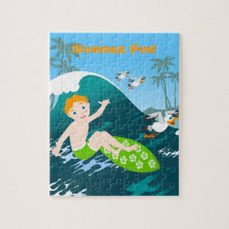 Boy surfer has a birthday party jigsaw puzzle