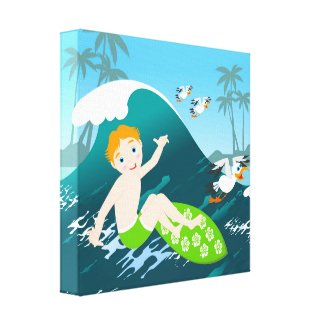 Boy surfing big wave and seagulls canvas prints