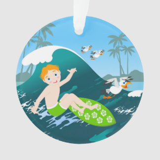 Boy surfing big wave and seagulls ornament
