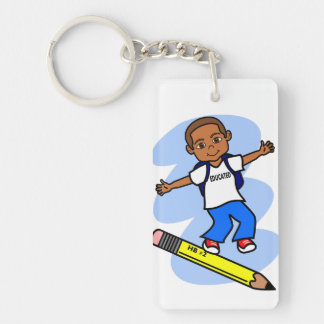 Boy Surfing on Large Yellow Pencil Keychain