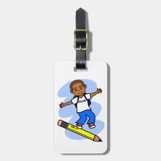 Boy Surfing on Yellow Pencil Luggage Tag