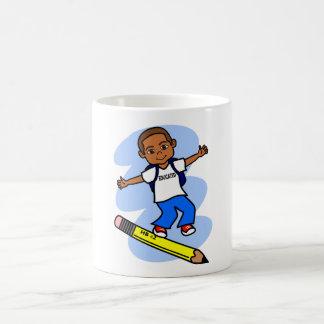 Boy Surfing on Yellow Pencil Mug