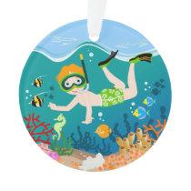 Boy swimmer has a birthday party ornament