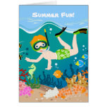 Boy swimming and diving with tropical fish card