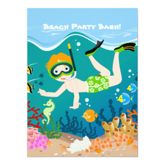 "Boy swimming and diving with tropical fish 6.5"" x 8.75"" invitation card"