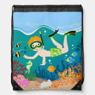 Boy swimming and diving with tropical fish cinch bags