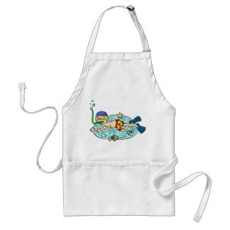 Boy Swimming With Fish Adult Apron