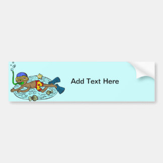 Boy Swimming With Fish Bumper Sticker