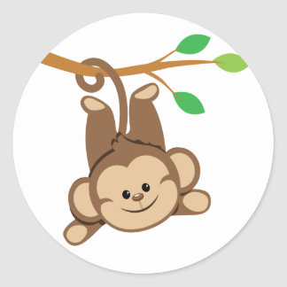 Boy Swinging Monkey Classic Round Sticker