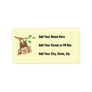 Boy Swinging Monkey Custom Address Labels