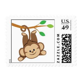 Boy Swinging Monkey Postage Stamp