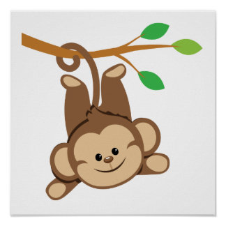 Boy Swinging Monkey Poster