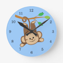 Boy Swinging Monkey Round Clock