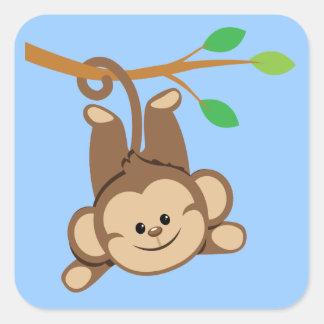 Boy Swinging Monkey Square Sticker
