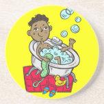 Boy Taking Bath Beverage Coasters